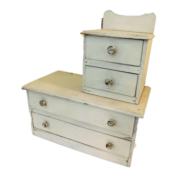Cased Washstand / Chest of Drawers Hand and Home Made for Doll, Depression Era
