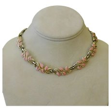 Necklace Choker Pink Leaves in Gold Tone Vines c1950