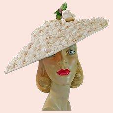 Vintage Pink Platter Shape Hat c1950 Rose and Daisies