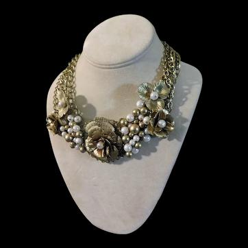 Vintage Necklace Stunning Sculptural Flowers c1980
