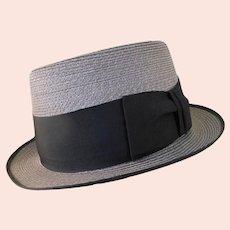 Vintage Stetson Straw Trilby Hat c1950 Retro Sinatra Style