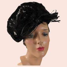 Dashing Hat c'40s Summer Black Sculpted Straw