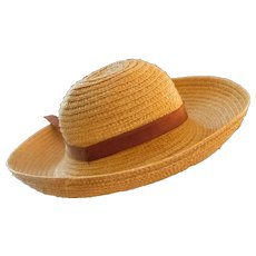 Doll's Antique Breton Bonnet Country Straw Hat c1915