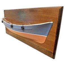 Large Vintage Half Hull Fishing Boat on Birch Wall Plaque, Handmade