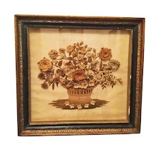 Early French Silk Chenille Embroidery Floral Needlework