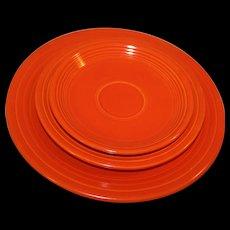 3-Pc Set Fiesta Dinnerware Homer Laughlin Original Red c1950s