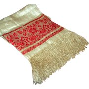 Linen Damask Show Towel ~ Opulent Self Fringe, Turkey Red Banded Borders c1880-1900