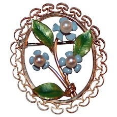 Bouquet of Forget Me Nots Vintage Pin by Krementz ~ Cultured Pearls, Enamels