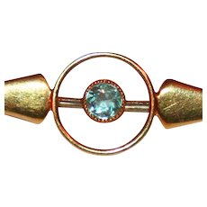 Art Deco 15kt Gold Pin,  Aquamarine Bull's Eye c1920