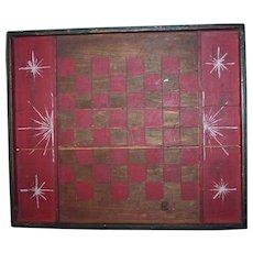 American Folk Art Gameboard w/ Starbursts c1900