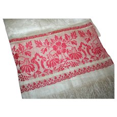 Show Towel c1890 Linen Damask w/ Turkey Red