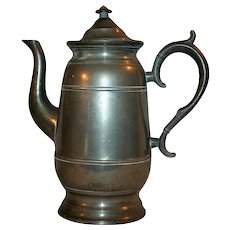Neoclassical Era Pewter Coffee / Tea Pot c1844 Lyman of Connecticut