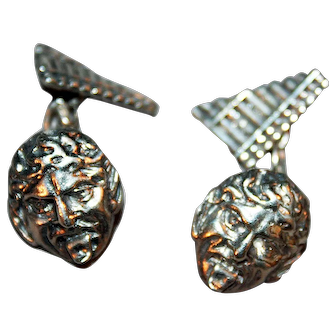 Distinctive Art Nouveau Sterling Silver Cufflinks ~ Pan and His Pipes Marked London 1900