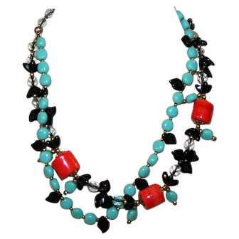 Turquoise, Coral and Black Glass Bead Necklace c1940-50