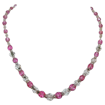 Pink and Clear Crystal Beads in the Perfect Necklace for Perfect Lady c1948-53