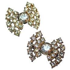Pair Vintage Scatter Pins Twinkling Rhinestone Bows c1940-50