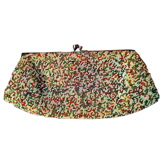 Milli-Beaded Clutch Purse Colorful Vintage c'40-50 Fresh for Summer