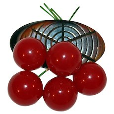 Vintage Brooch Bakelite Cherries on Wood-Figured Bakelite Branch