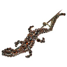 Georgian Brooch Salamander in Cut Steel Beads c1780