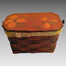 Summertime Vintage Purse, Picnic Basket Form w/ Hand Painted Flowers