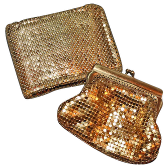 2 Glittering Accessories c1950 ~ Metallic Mesh Coin Purse and Lady's Wallet