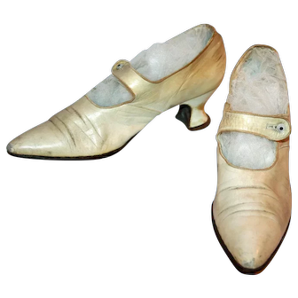 Art Deco Shoes Summer Ivory Leather c1925