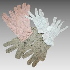 3 Pair Summer Gloves True Charm Crochet Vintage c1950