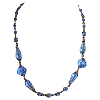 Vintage Blue Crystal Necklace Austrian c1910-25