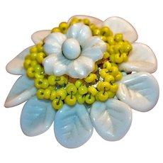 Original Miriam Haskell Flower Brooch, Mid-Century