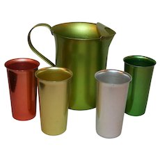 Anodized Aluminum Summer Set Pitcher and 4 Tumblers c1950s