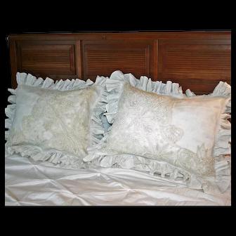 Battenburg Lace and Cotton Victorian Pillow Shams, 1 Pair c1890