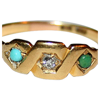 18K Gold Ring with Natural Diamond & Turquoise c1875