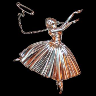 Frederick Massingham Sterling Silver Ballerina Pin c1946