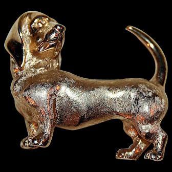 Vintage Crown Trifari Hound / Dog / Dachshund Brooch c1960s