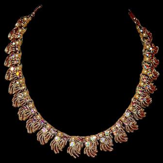 Coro Princess Necklace Pearls, AB Rhinestones, Fringe c1960