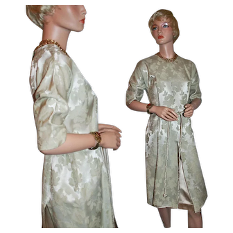 Rich Silk or Blend Brocade in Classic Vintage Dress c1950s