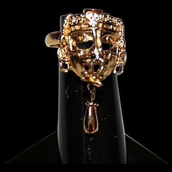 Vintage 22kt Gold Plated Aztec Ring c1956-64 Salvador Teran