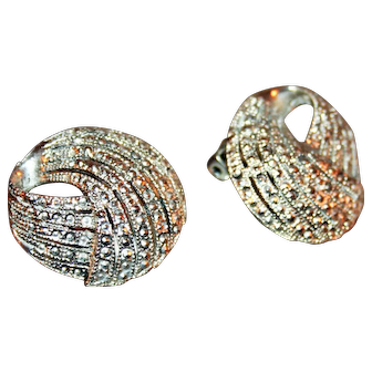 Vintage Sterling Silver and Marcasite Earrings c1955 Clip-Ons