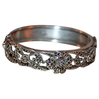 Silver and Marcasite Hinged Bangle Bracelet c1950s