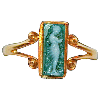 Cameo Ring ~ Carved Green Agate Set In 18kt Yellow Gold Dated 1899