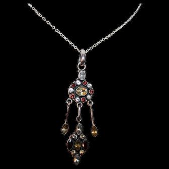 Georgian Silver, Citrine Pendant w/ Chain ~ Iberian