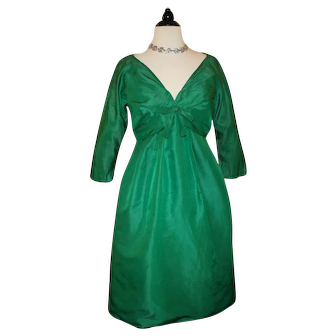Vintage Saks Fifth Ave. Cocktail Dress Christmas Green c1950s