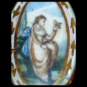 Georgian Pendant / Brooch Hand Painted Watercolor Miniature Portrait Woman Bird 12-14kt Gold