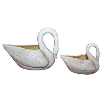 Irish Belleek Swan Boats Mother and Cygnet 5th and 6th Green Marks