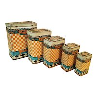 Set French Art Deco Kitchen Canisters c1925 Super Graphics