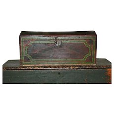 New England Trunk c1840 Original Folk Art Grain Paint & Decorative Paint