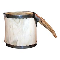 Tankard of Water Buffalo Horn, Antler, Nickeled Brass c1910