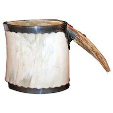 Tankard of Water Buffalo Horn, Antler, Nickeled Brass c1910