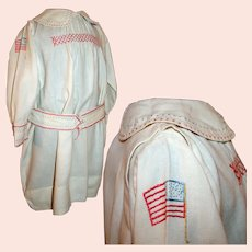 Antique Armistice Dress For Child WW I Era c1918 * Embroidered USA & French Flags Handmade for Boy / Girl Patriotic Colors Smocking