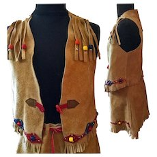 Child's Vintage Cowgirl Suede Suit Skirt Vest Finest Street-Wear Quality Not Costume c'70 J. R. Craighead Colorado Rodeo Western Wear